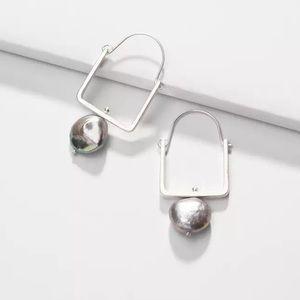 Natural Pearl Silver Square Hoop Earrings